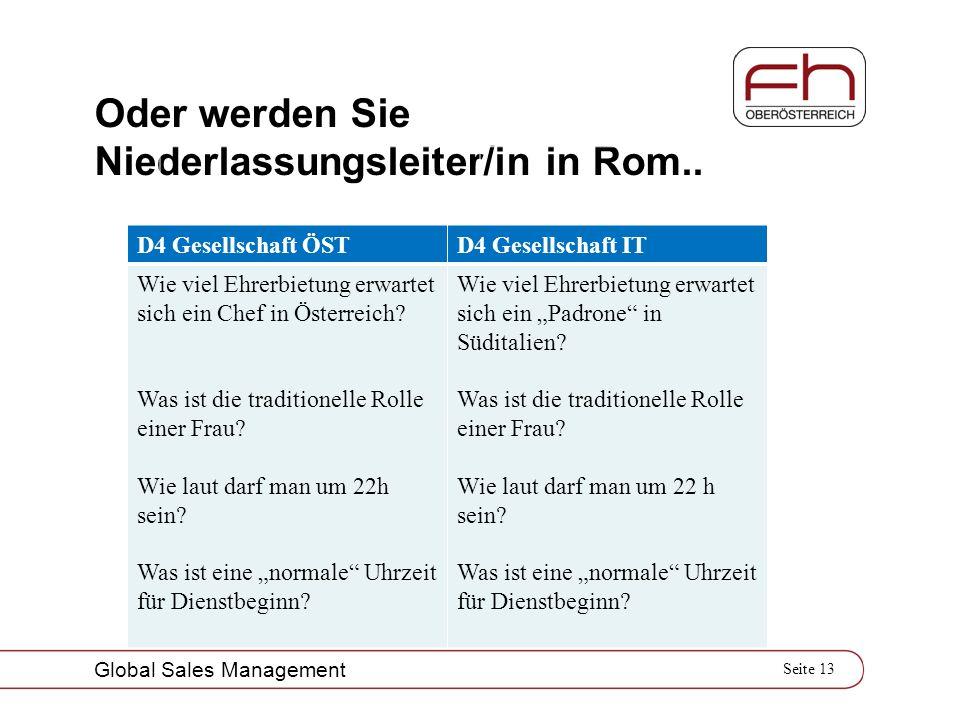 Seite 13 Global Sales Management Oder werden Sie Niederlassungsleiter/in in Rom.. D4 Gesellschaft ÖSTD4 Gesellschaft IT Wie viel Ehrerbietung erwartet