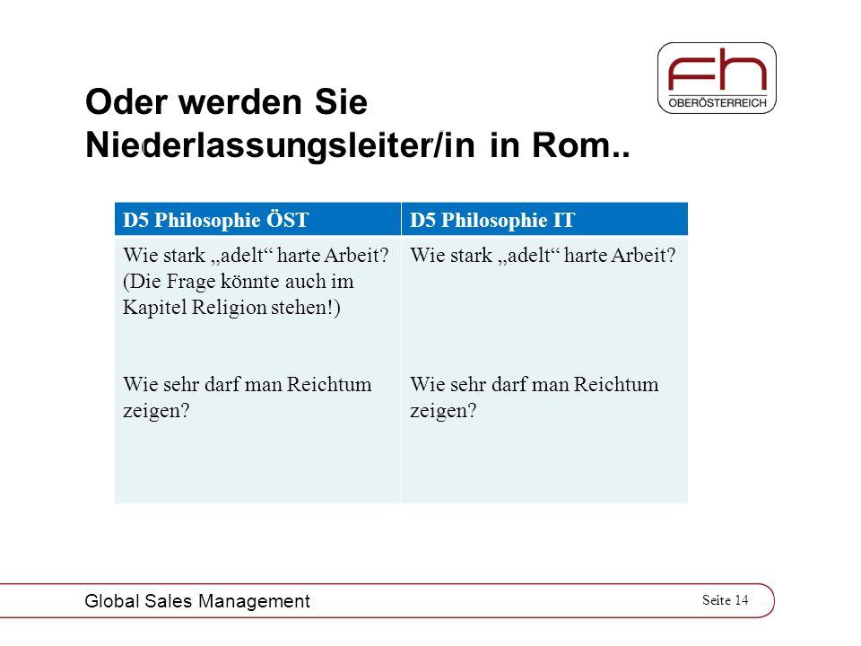 Seite 14 Global Sales Management Oder werden Sie Niederlassungsleiter/in in Rom.. D5 Philosophie ÖSTD5 Philosophie IT Wie stark adelt harte Arbeit? (D