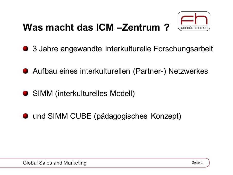 Seite 2 Global Sales and Marketing Was macht das ICM –Zentrum ? 3 Jahre angewandte interkulturelle Forschungsarbeit Aufbau eines interkulturellen (Par