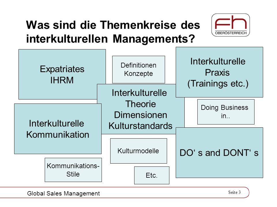 Seite 3 Global Sales Management Was sind die Themenkreise des interkulturellen Managements? Expatriates IHRM Interkulturelle Theorie Dimensionen Kultu