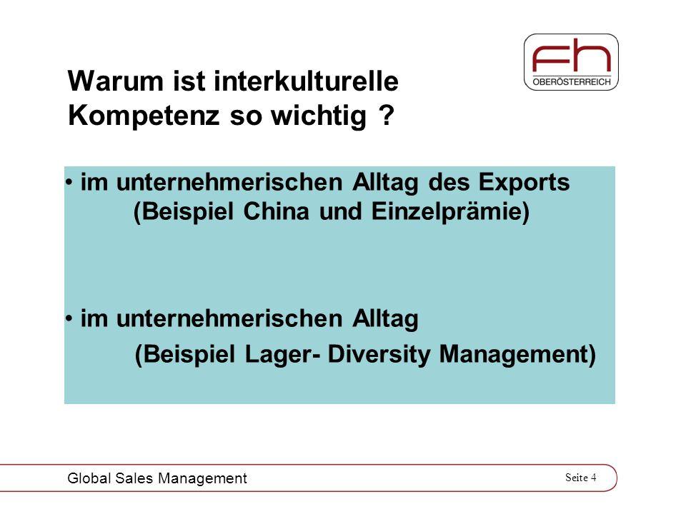 Seite 4 Global Sales Management Warum ist interkulturelle Kompetenz so wichtig ? im unternehmerischen Alltag des Exports (Beispiel China und Einzelprä