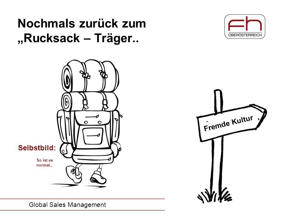 Seite 8 Global Sales Management Nochmals zurück zum Rucksack – Träger.. Selbstbild: So ist es normal.. Fremde Kultur