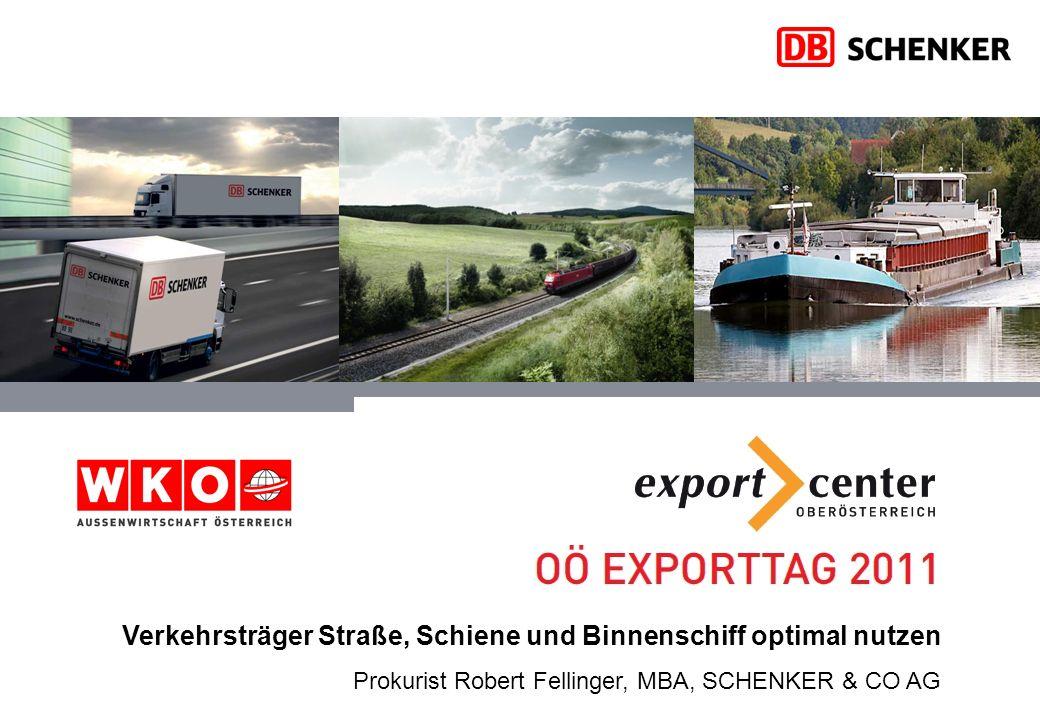 Verkehrsträger Straße, Schiene und Binnenschiff optimal nutzen Prokurist Robert Fellinger, MBA, SCHENKER & CO AG