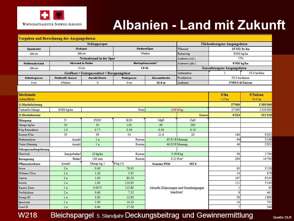 W218 Albanien - Land mit Zukunft Quelle: DLR Bleichspargel 5. Standjahr Deckungsbeitrag und Gewinnermittlung