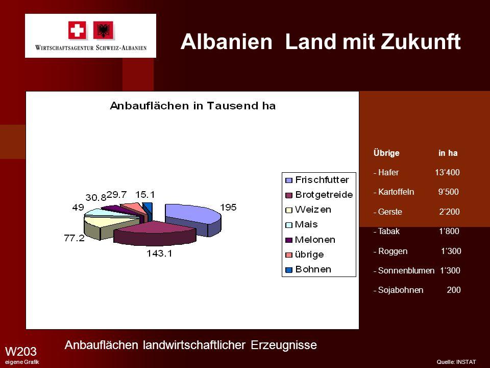 Albanien Land mit Zukunft W203 eigene Grafik Quelle: INSTAT Anbauflächen landwirtschaftlicher Erzeugnisse Übrige in ha - Hafer 13400 - Kartoffeln 9500