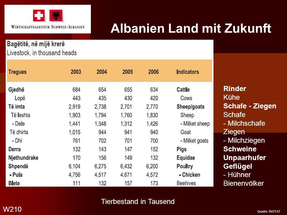 Albanien Land mit Zukunft W210 Quelle: INSTAT Tierbestand in Tausend Rinder Kühe Schafe - Ziegen Schafe - Milchschafe Ziegen - Milchziegen Schweine Un