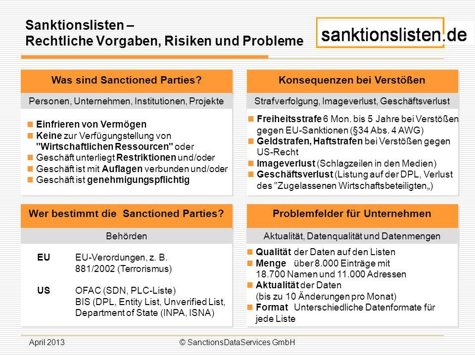 April 2013© SanctionsDataServices GmbH Sanktionslisten – Rechtliche Vorgaben, Risiken und Probleme Was sind Sanctioned Parties? Personen, Unternehmen,