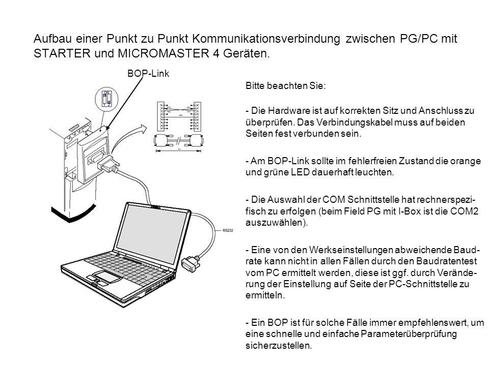 Aufbau einer Punkt zu Punkt Kommunikationsverbindung zwischen PG/PC mit STARTER und MICROMASTER 4 Geräten. Bitte beachten Sie: - Die Hardware ist auf