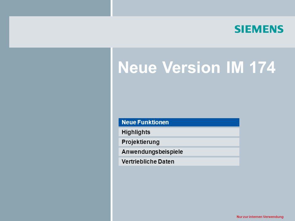 Nur zur internen Verwendung Neue Version IM 174 Vertriebliche Daten Anwendungsbeispiele Projektierung Highlights Neue Funktionen