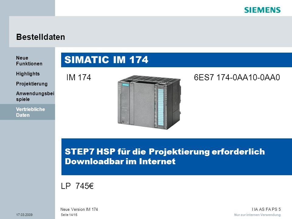 Nur zur internen Verwendung I IA AS FA PS 5 17.03.2009Seite 14/15 Neue Version IM 174 Vertriebliche Daten Anwendungsbei spiele Projektierung Highlight