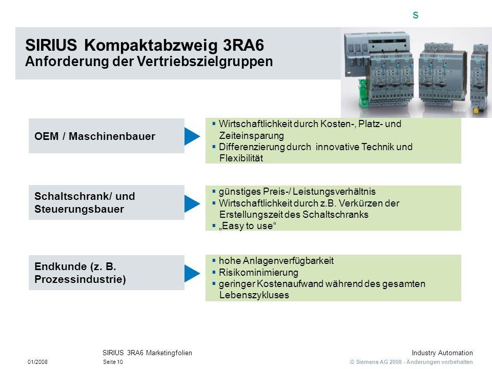 s © Siemens AG 2008 - Änderungen vorbehalten Industry Automation 01/2008Seite 10 SIRIUS 3RA6 Marketingfolien SIRIUS Kompaktabzweig 3RA6 Anforderung de