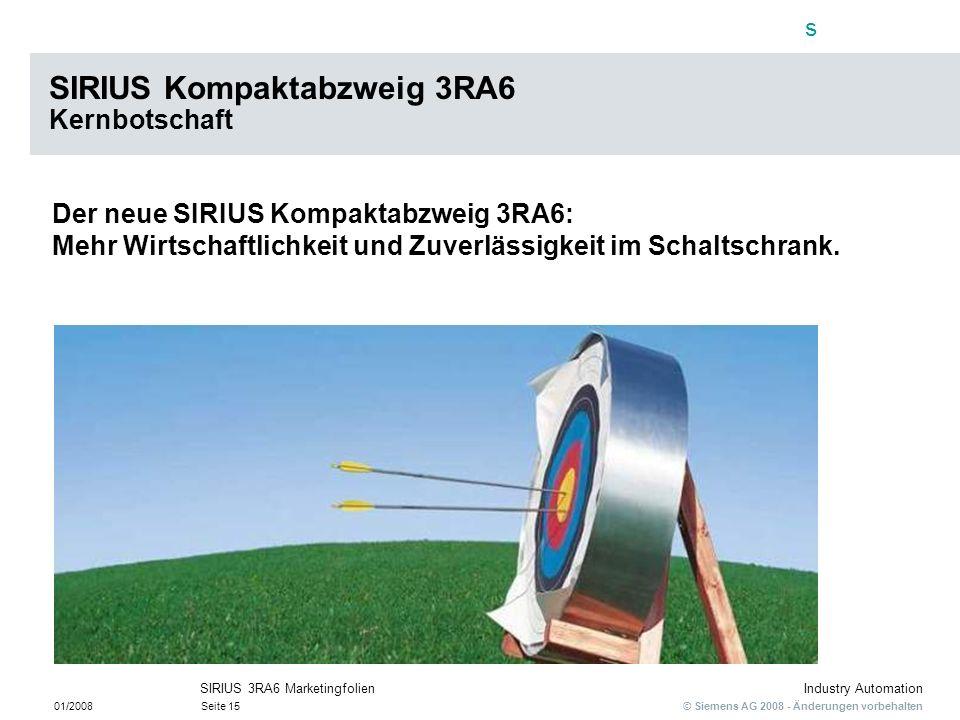 s © Siemens AG 2008 - Änderungen vorbehalten Industry Automation 01/2008Seite 15 SIRIUS 3RA6 Marketingfolien Der neue SIRIUS Kompaktabzweig 3RA6: Mehr