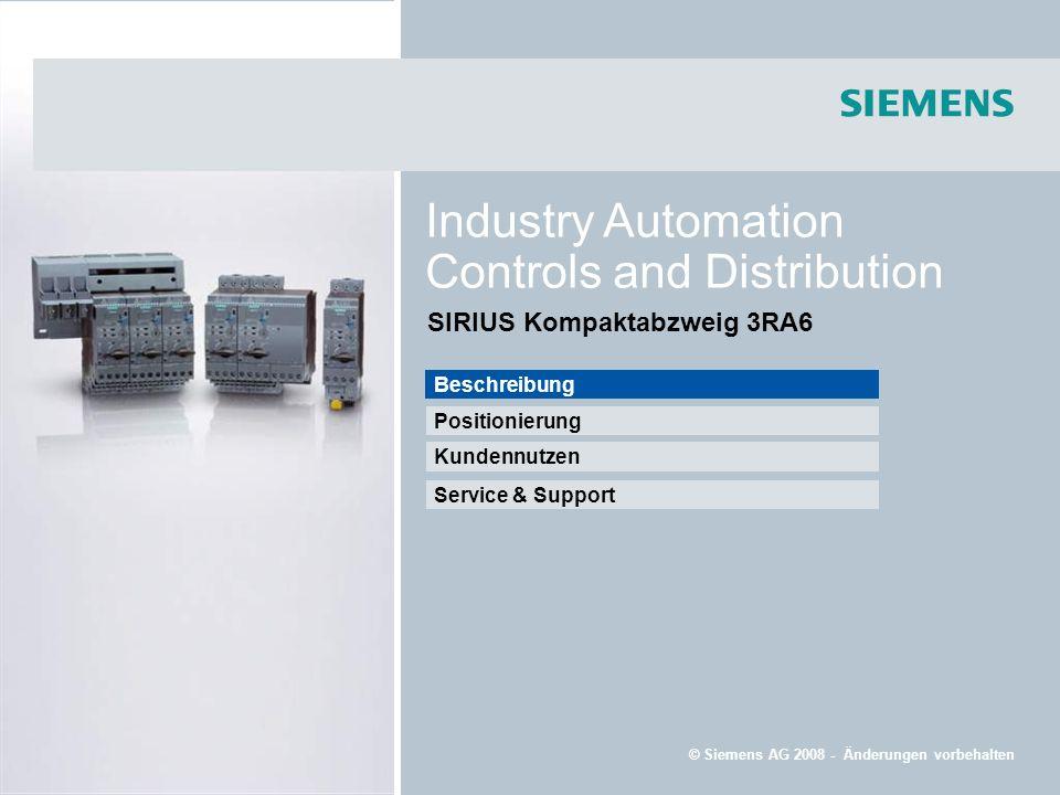 Beschreibung Kundennutzen Service & Support Positionierung © Siemens AG 2008 - Änderungen vorbehalten Industry Automation Controls and Distribution SI