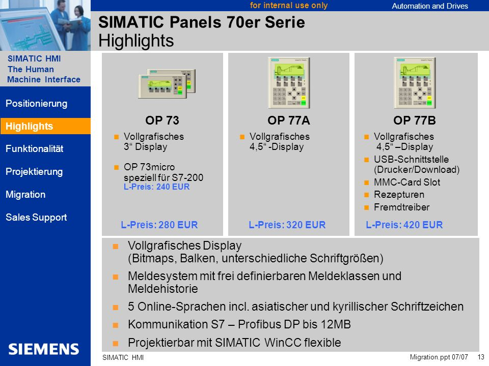 Automation and Drives SIMATIC HMI The Human Machine Interface Migration.ppt 07/07 13 for internal use only SIMATIC HMI SIMATIC Panels 70er Serie Highl