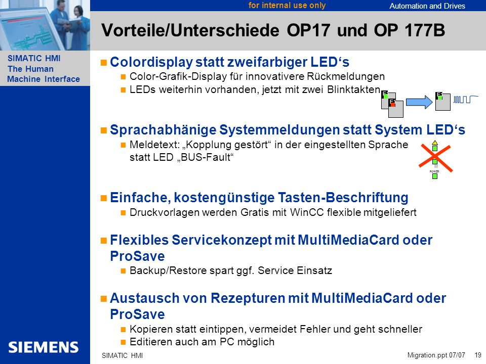 Automation and Drives SIMATIC HMI The Human Machine Interface Migration.ppt 07/07 19 for internal use only SIMATIC HMI Vorteile/Unterschiede OP17 und