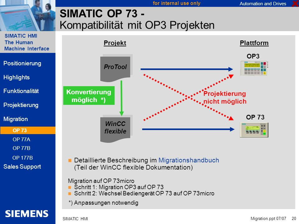 Automation and Drives SIMATIC HMI The Human Machine Interface Migration.ppt 07/07 20 for internal use only SIMATIC HMI SIMATIC OP 73 - Kompatibilität