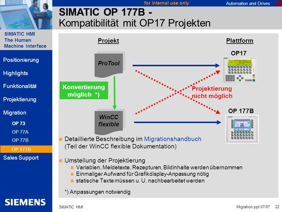 Automation and Drives SIMATIC HMI The Human Machine Interface Migration.ppt 07/07 22 for internal use only SIMATIC HMI SIMATIC OP 177B - Kompatibilitä