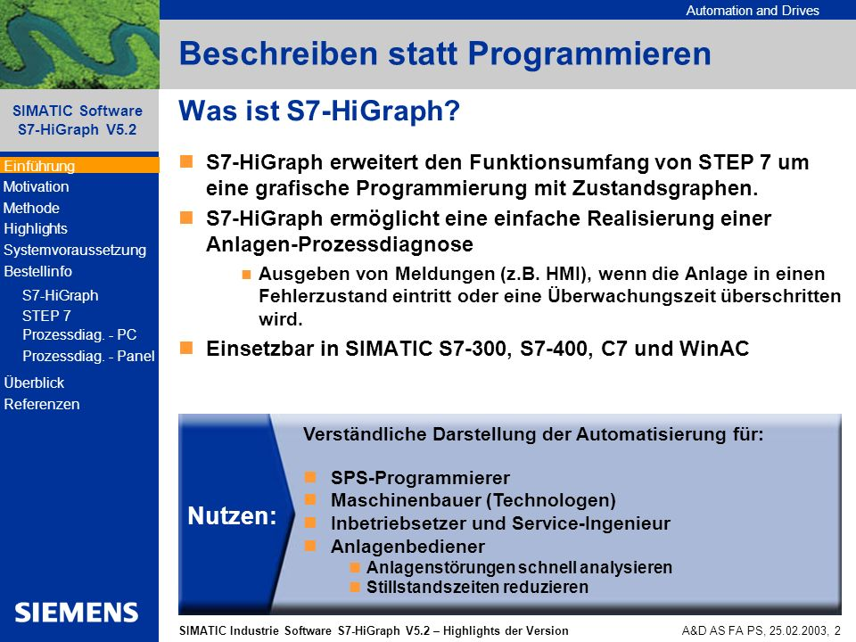 Automation and Drives SIMATIC Industrie Software S7-HiGraph V5.2 – Highlights der Version SIMATIC Software S7-HiGraph V5.2 A&D AS FA PS, 25.02.2003, 3 Warum S7-HiGraph.