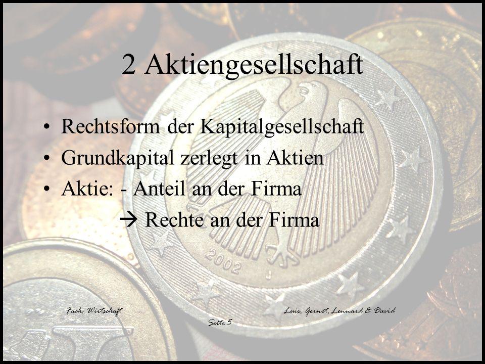 Luis, Gernot, Lennard & David 2 Aktiengesellschaft Rechtsform der Kapitalgesellschaft Grundkapital zerlegt in Aktien Aktie: - Anteil an der Firma Rech