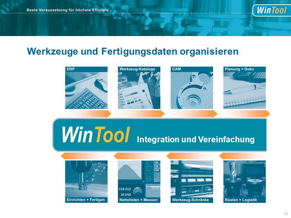 Werkzeuge und Fertigungsdaten organisieren WinTool Integration und Vereinfachung 11