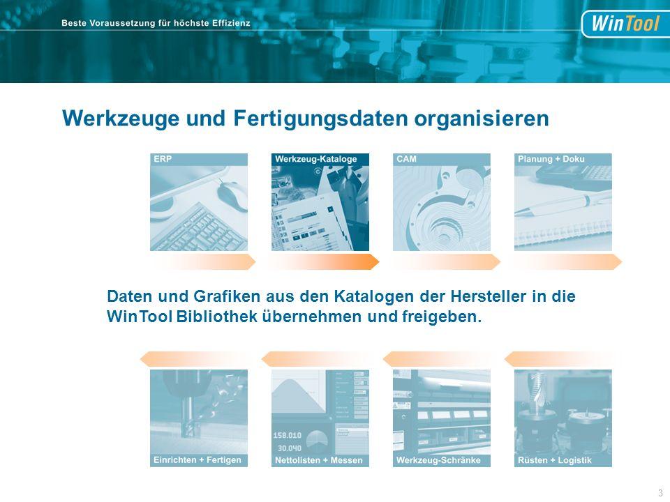 Werkzeuge und Fertigungsdaten organisieren Daten und Grafiken aus den Katalogen der Hersteller in die WinTool Bibliothek übernehmen und freigeben.