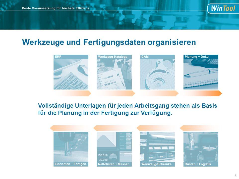 Werkzeuge und Fertigungsdaten organisieren Vollständige Unterlagen für jeden Arbeitsgang stehen als Basis für die Planung in der Fertigung zur Verfügung.