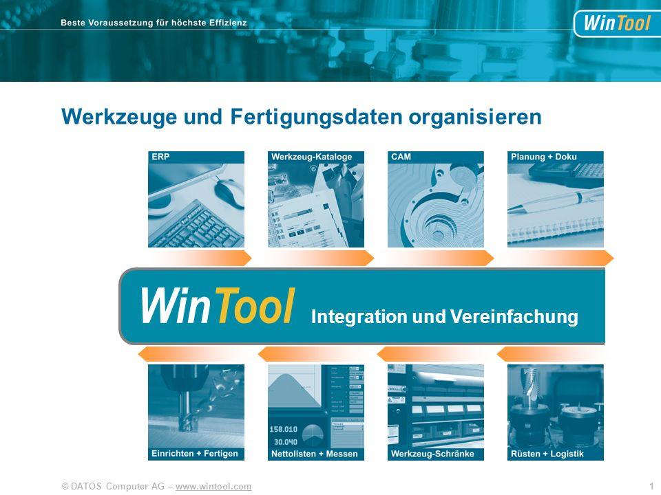 22© DATOS Computer AG – www.wintool.com WinTool Gemeinsame Datenbank Werkzeuge und Fertigungsdaten organisieren SIM CAM WinTool Gemeinsame Datenbank Integration der Aufgaben.