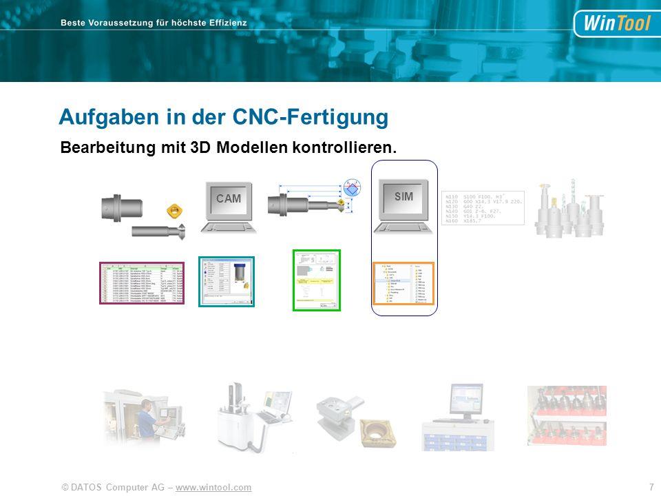 38© DATOS Computer AG – www.wintool.com SIM CAM WinTool Effizienter Arbeitsprozess Werkzeuge und Fertigungsdaten organisieren Mit Integration der Anwendungen.