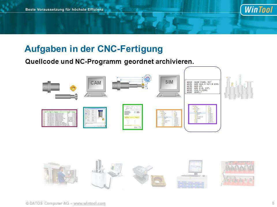 39© DATOS Computer AG – www.wintool.com SIM CAM WinTool Effizienter Arbeitsprozess Werkzeuge und Fertigungsdaten organisieren Mit Integration der Anwendungen.