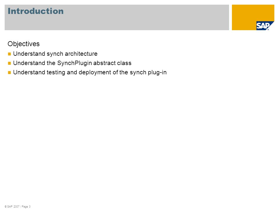 © SAP 2007 / Page 3 Introduction Objectives Understand synch architecture Understand the SynchPlugin abstract class Understand testing and deployment