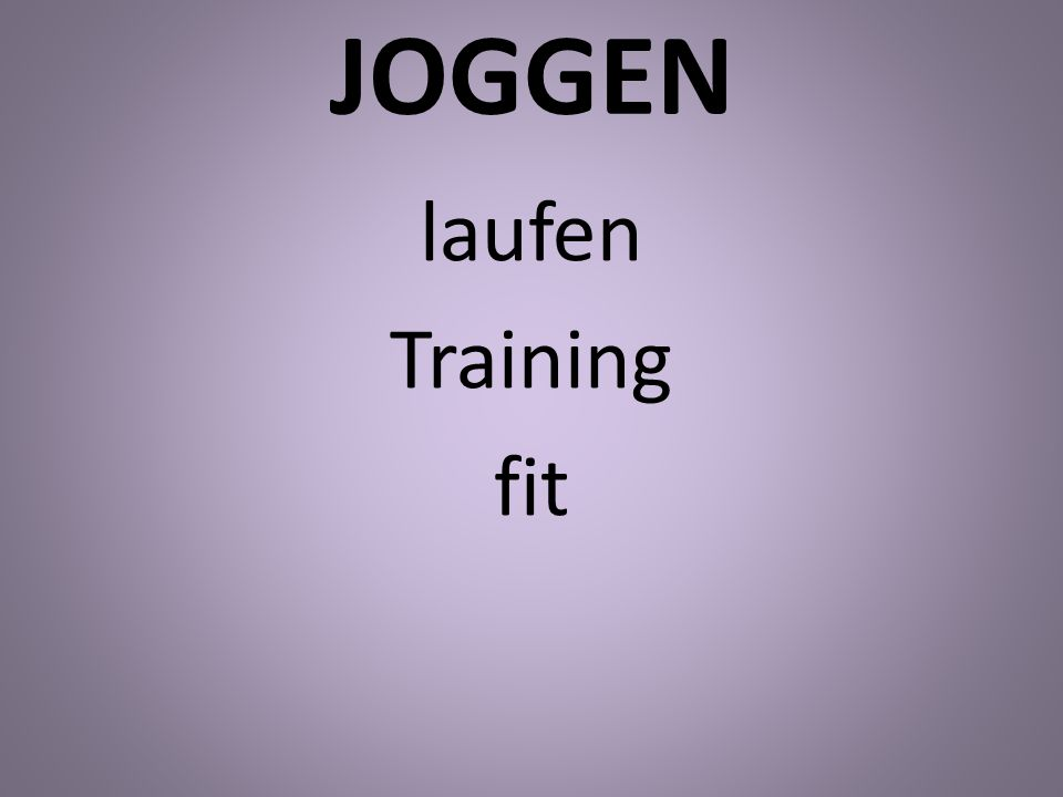 JOGGEN laufen Training fit
