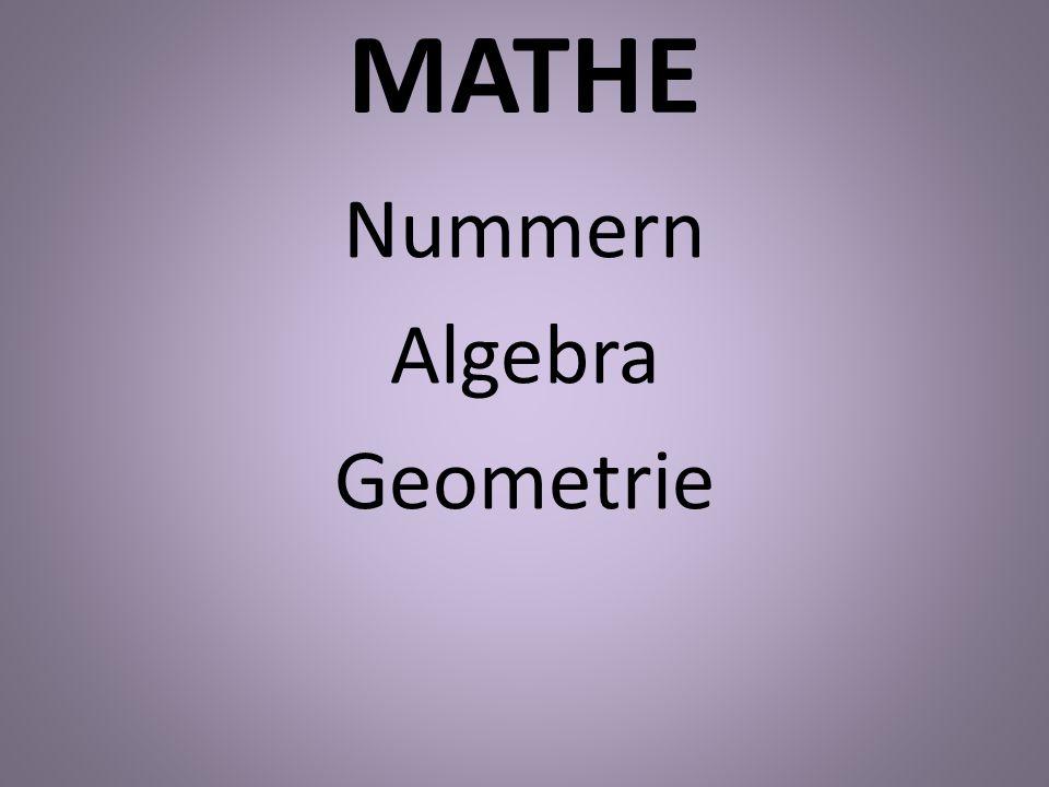 MATHE Nummern Algebra Geometrie