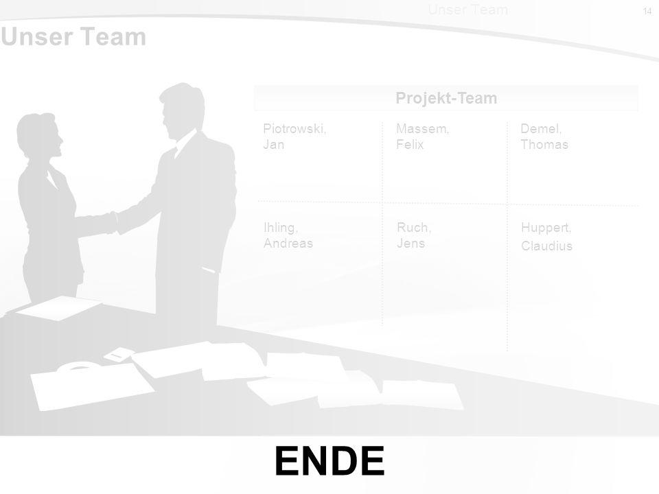 14 Massem, Felix Piotrowski, Jan Demel, Thomas Projekt-Team 14 Unser Team Ruch, Jens Ihling, Andreas Huppert, Claudius ENDE