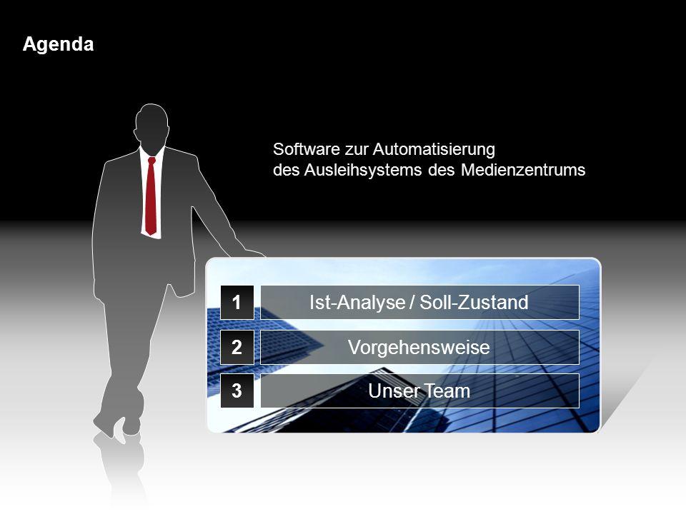 Agenda 1 2 3 Ist-Analyse / Soll-Zustand Vorgehensweise Unser Team Software zur Automatisierung des Ausleihsystems des Medienzentrums 2