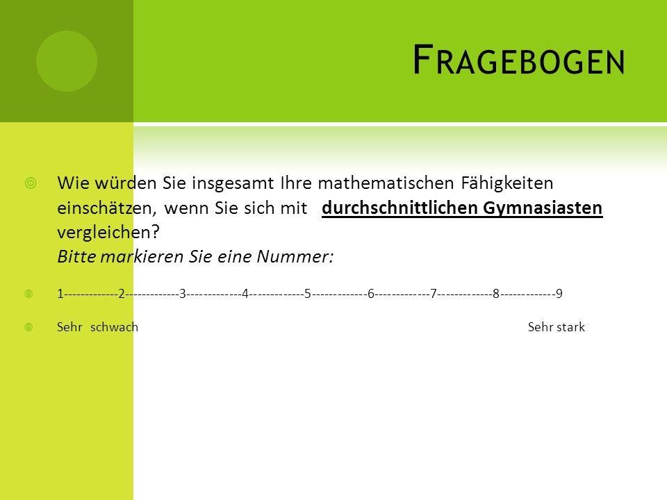 F RAGEBOGEN Wie würden Sie insgesamt Ihre mathematischen Fähigkeiten einschätzen, wenn Sie sich mit durchschnittlichen Gymnasiasten vergleichen? Bitte