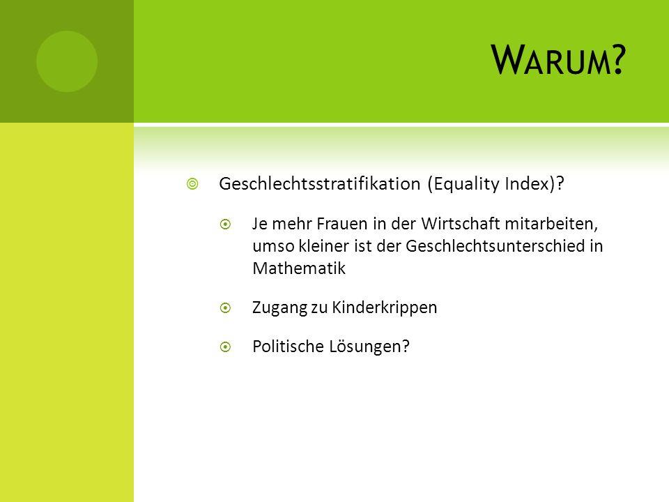 W ARUM ? Geschlechtsstratifikation (Equality Index)? Je mehr Frauen in der Wirtschaft mitarbeiten, umso kleiner ist der Geschlechtsunterschied in Math