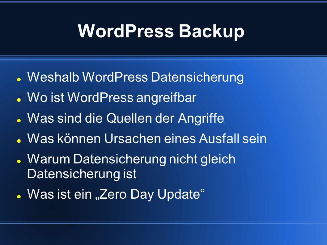 WordPress Backup Weshalb WordPress Datensicherung Wo ist WordPress angreifbar Was sind die Quellen der Angriffe Was können Ursachen eines Ausfall sein