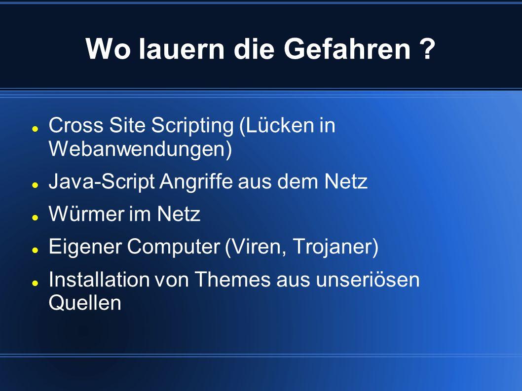 Wo lauern die Gefahren ? Cross Site Scripting (Lücken in Webanwendungen) Java-Script Angriffe aus dem Netz Würmer im Netz Eigener Computer (Viren, Tro