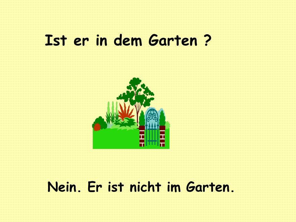 Ist er in dem Garten ? Nein. Er ist nicht im Garten.