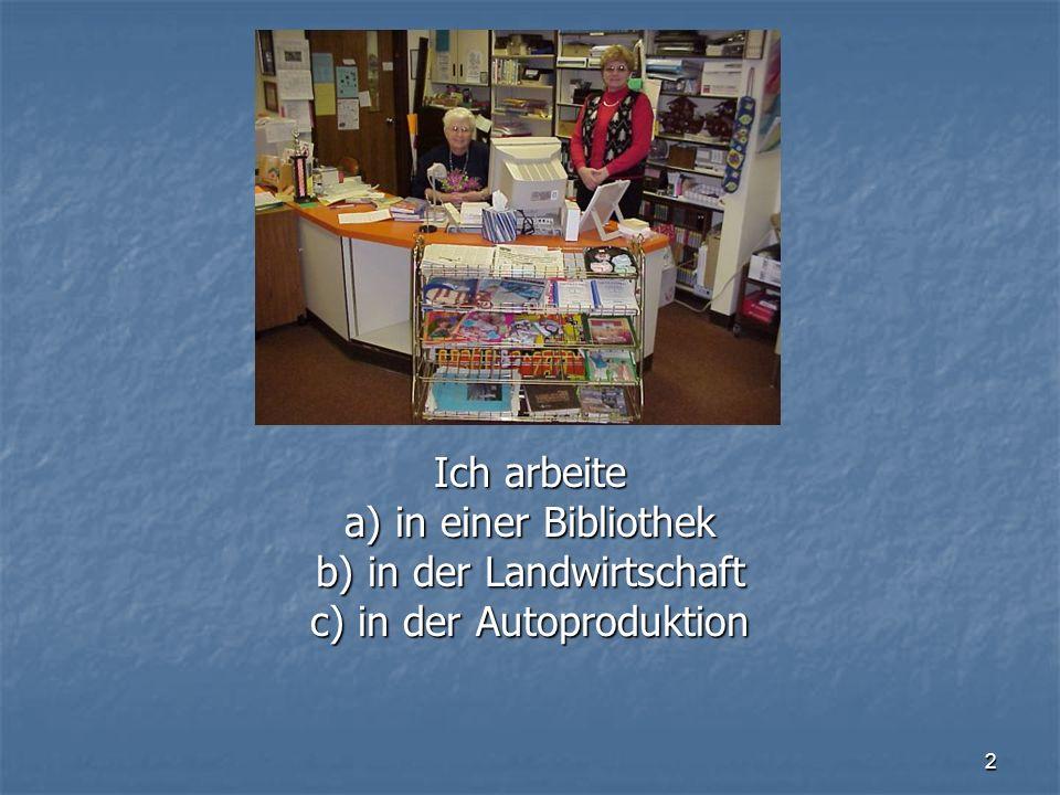 2 Ich arbeite a) in einer Bibliothek b) in der Landwirtschaft c) in der Autoproduktion