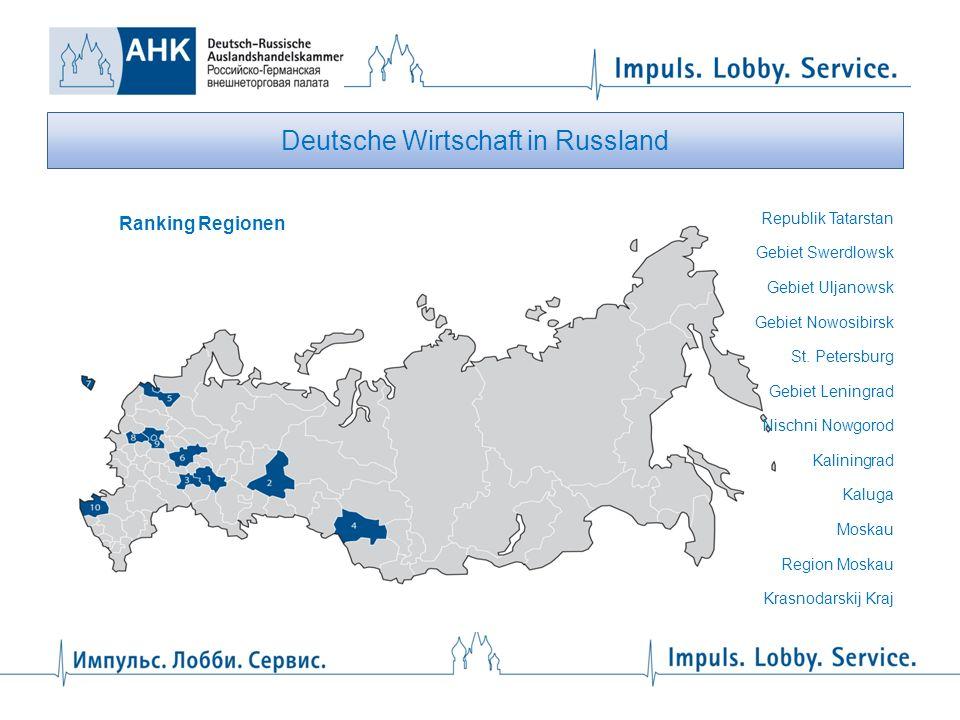 Deutsche Wirtschaft in Russland Republik Tatarstan Gebiet Swerdlowsk Gebiet Uljanowsk Gebiet Nowosibirsk St. Petersburg Gebiet Leningrad Nischni Nowgo