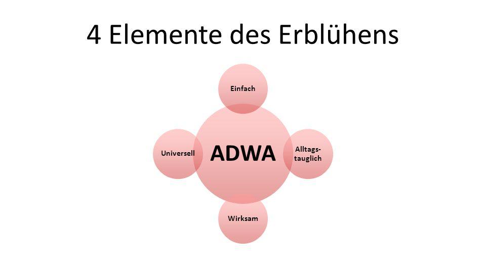 4 Elemente des Erblühens ADWA Einfach Alltags- tauglich WirksamUniversell