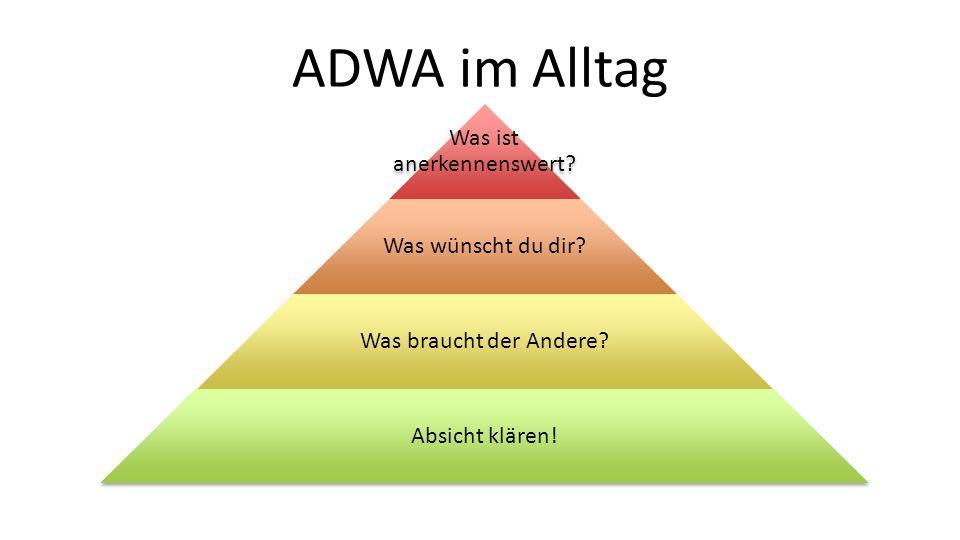 ADWA im Alltag Was ist anerkennenswert? Was wünscht du dir? Was braucht der Andere? Absicht klären!