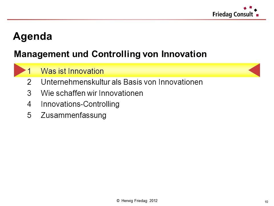 © Herwig Friedag 2012 10 Agenda 1Was ist Innovation 2Unternehmenskultur als Basis von Innovationen 3Wie schaffen wir Innovationen 4Innovations-Control