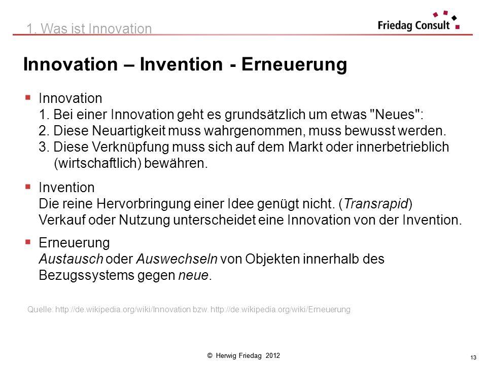 © Herwig Friedag 2012 13 Innovation – Invention - Erneuerung 1. Was ist Innovation Innovation 1. Bei einer Innovation geht es grundsätzlich um etwas