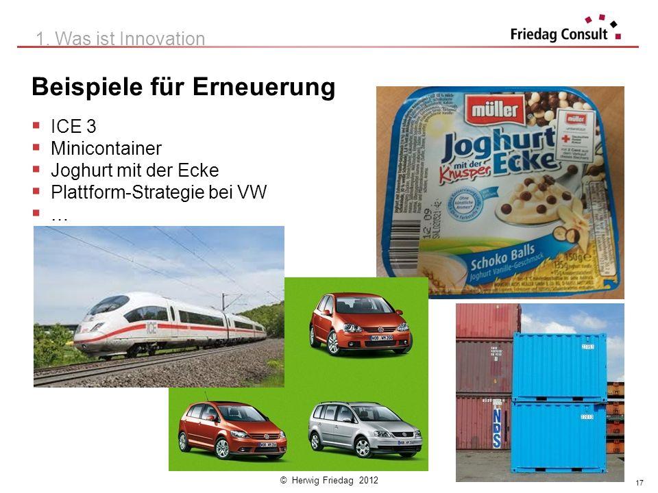 © Herwig Friedag 2012 Beispiele für Erneuerung ICE 3 Minicontainer Joghurt mit der Ecke Plattform-Strategie bei VW … 1. Was ist Innovation 17