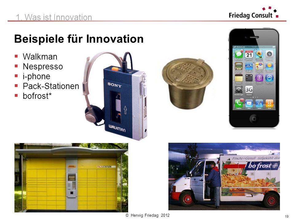 © Herwig Friedag 2012 Beispiele für Innovation Walkman Nespresso i-phone Pack-Stationen bofrost* 1. Was ist Innovation 19