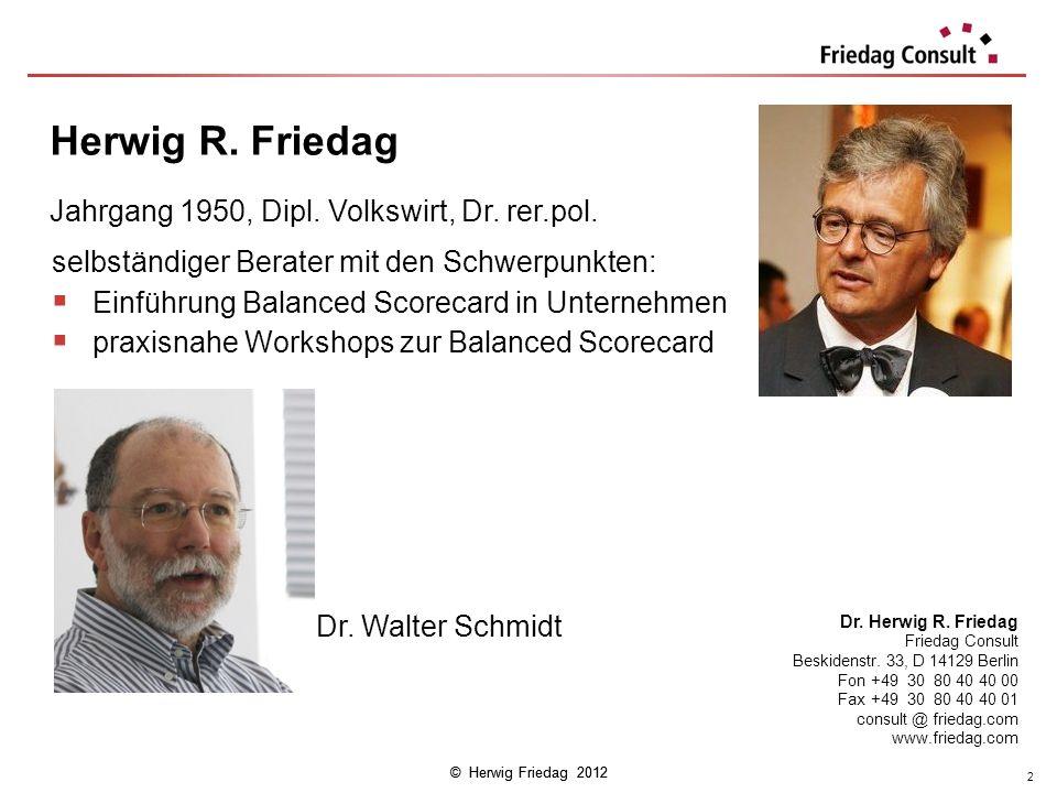 © Herwig Friedag 2012 selbständiger Berater mit den Schwerpunkten: Einführung Balanced Scorecard in Unternehmen praxisnahe Workshops zur Balanced Scor