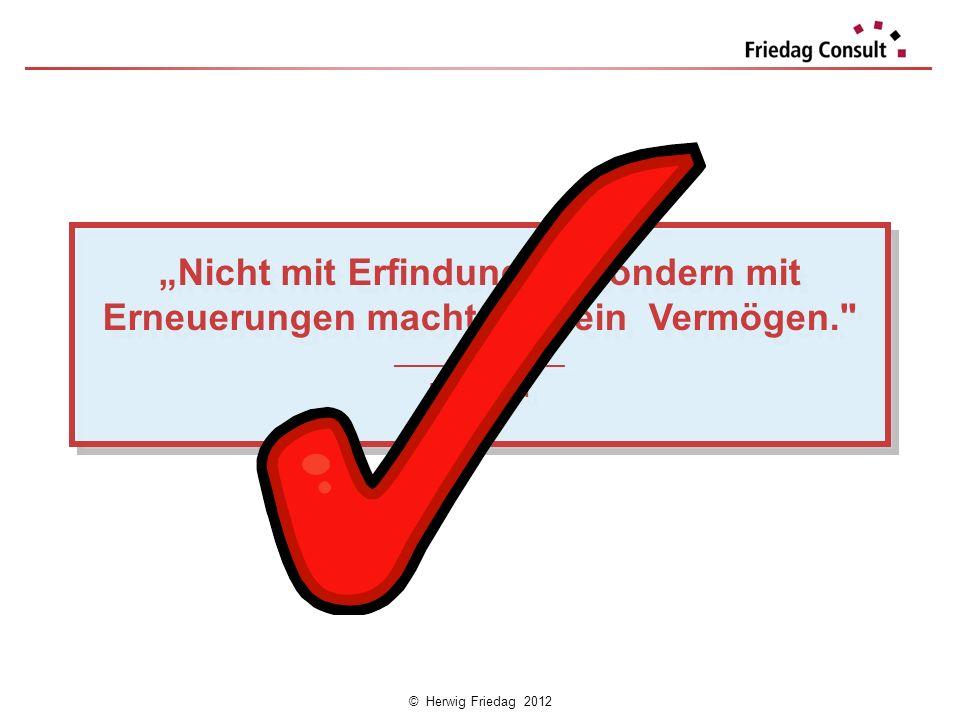 © Herwig Friedag 2012 Nicht mit Erfindungen, sondern mit Erneuerungen macht man ein Vermögen.