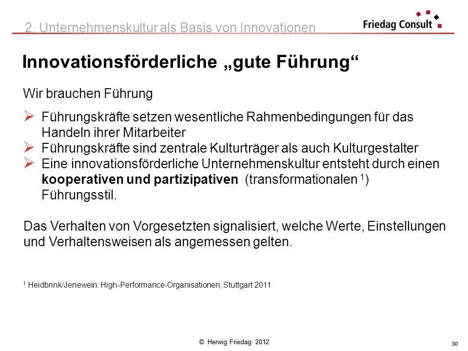 © Herwig Friedag 2012 30 Innovationsförderliche gute Führung 30 2. Unternehmenskultur als Basis von Innovationen Wir brauchen Führung Führungskräfte s